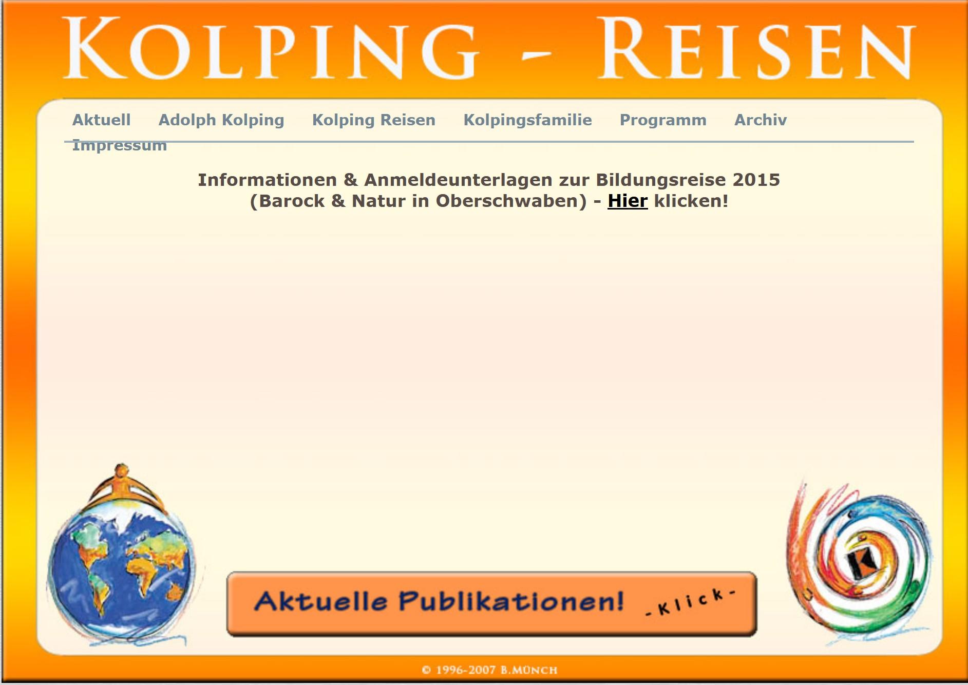Grafik der früheren Version von www.kolping-reisen.de
